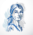 art drawing portrait of confident girl isolated on vector image vector image