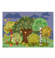 autumn landscape during cloudy weather vector image vector image