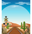 background scene with railroad in desert field vector image vector image