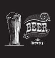 beer glass filled with beer vintage vector image