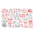 big set christmas design doodle elements 7 vector image vector image