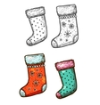 Christmas gift stockings isolated sketch icons set vector image vector image