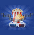 cinema concept popcorn film tickets and 3d vector image vector image