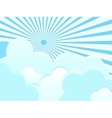clouds on blue background with sun rays vector image