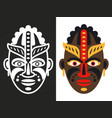colorful and white african tribal masks vector image vector image