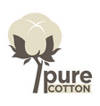 cotton labels or logo for pure 100 percent natural vector image vector image