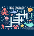 crossword puzzle game sea animals for kids vector image