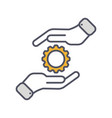 development solution thin line icon gear in hand vector image