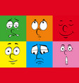 different emotions on colorful background vector image vector image