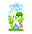 Easter Card with Landscape Rabbit and Eggs vector image vector image