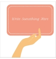 female hand holding vertical paper card vector image vector image
