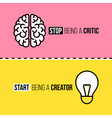 Flat line icons of brain and light bulb vector image vector image