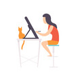freelancer girl working at home remote working vector image vector image