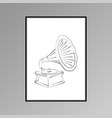 gramophone poster in black and white for interior vector image vector image