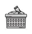 grayscale basket design with dirty clothes inside vector image vector image