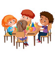 group of students learning geometric shapes vector image