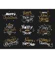 Happy New Year and Merry Christmas golden hand vector image