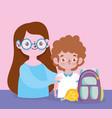 happy teachers day teacher and student boy vector image vector image
