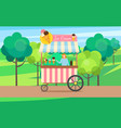 ice cream truck with seller and dessert cream vector image vector image