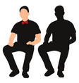 isolated silhouette a man sitting vector image vector image