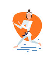 karate woman kimono exercises pose on white vector image