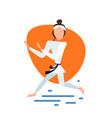 karate woman kimono exercises pose on white vector image vector image