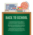Laptop Books And Desk Globe Back To School Concept vector image vector image