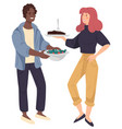 man and woman holding dish with meat and vegetable vector image