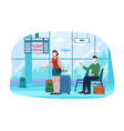 man and woman in airport with flight cancellation vector image vector image