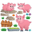 pig theme collection 1 vector image vector image