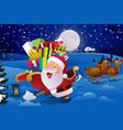 santa claus with sleigh shoveling snow vector image vector image