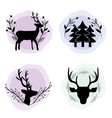 set deer with branches and pine trees concept vector image