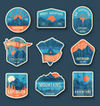 set nine mountain travel emblems with grunge vector image vector image