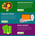 set of 3 internet gambling flat banners poker and vector image vector image