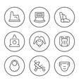 set round line icons baby goods vector image