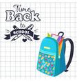 time back to school poster rucksack on leaflet vector image vector image
