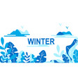 winter leaves background template vector image vector image