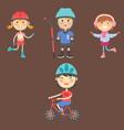 Young kids sportsmens future roller skates vector image