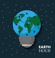 earth hour globe map bulb clock celebration annual vector image