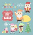 Three santa claus vntage with elf elements set vector image