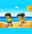 african boy and girl playing football vector image