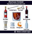 americano cocktail infographic set of isolated vector image