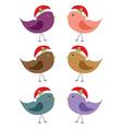 birds in Santa hats vector image vector image