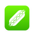 bun and sausage icon digital green vector image