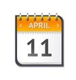 Calendar April Eleven Flat Design vector image