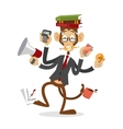 cartoon monkey business man stress dancing vector image vector image