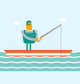 caucasian white fisherman fishing from the boat vector image vector image
