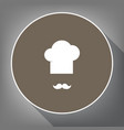 chef hat and moustache sign white icon on vector image