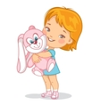 Child with pink plush rabbit toy vector image vector image