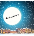 Christmas house in snowfall at the night Happy vector image